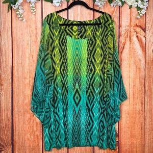 Style & Co Boho Aztec Bell Sleeve Dress | Size 3X